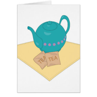 blue teapot and teabags card