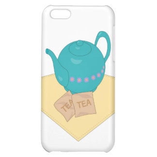 Blue teapot and teabags iPhone 5C case