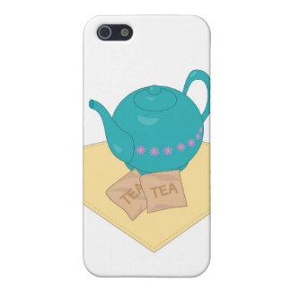 Blue teapot and teabags iPhone 5 cases