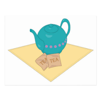 blue teapot and teabags postcard