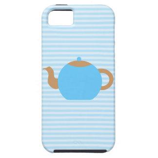 Blue Teapot picture on Blue Stripes. iPhone 5 Case