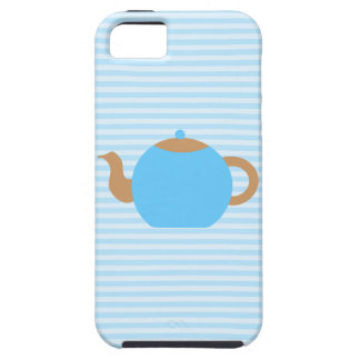 Blue Teapot picture on Blue Stripes. iPhone 5 Case