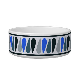 Blue Teardrop Personalized Ceramic Dog Bowl
