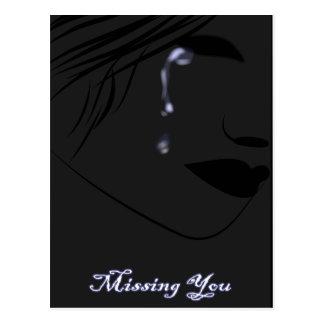 blue teardrops postcard