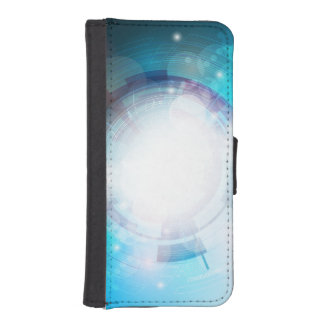 Blue Tech Design Phone Wallet Case