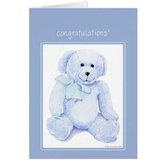 Blue Teddy Bear Congratulations Card