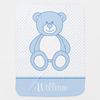 Blue Teddy Bear Personalised Baby Blanket