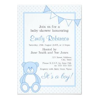 Blue Teddy Bear Shower Invitation - Boy