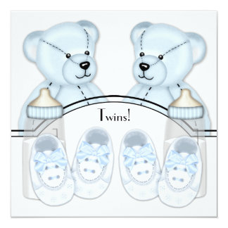 Blue Teddy Bear Twin Boys Baby Shower Invitations