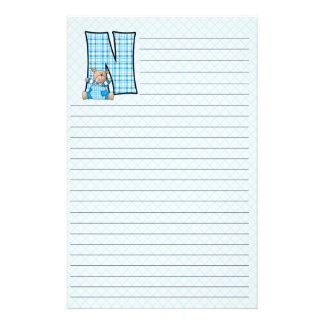 Blue Teddy Bear with Letter N Plaid Lined Stationery