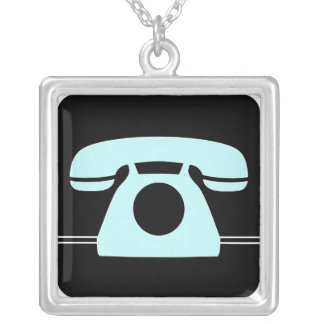 Blue Telephone Square Pendant Necklace