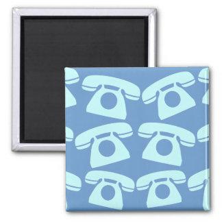 Blue Telephones Square Magnet