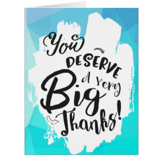 Blue Tempest Typography Giant Thank You Card