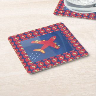 BLUE Template DIY change color ADD TEXT IMAGE Square Paper Coaster