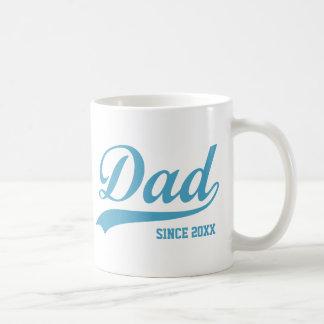 Blue Text Dad Since [year] Classic Mug