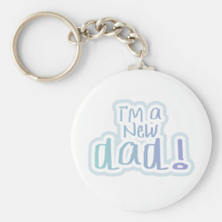 Blue Text I'm a New Dad Basic Round Button Key Ring