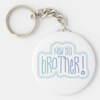 Blue Text New Big Brother Basic Round Button Key Ring