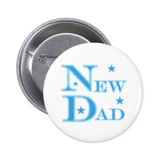 Blue Text New Dad 6 Cm Round Badge