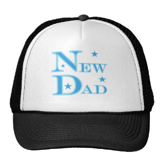 Blue Text New Dad Mesh Hat