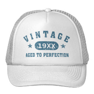 Blue Text Vintage Aged to Perfection Trucker Hat