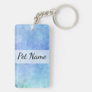 Blue Textured Bullterier Dog Name Keychain