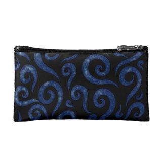 Blue Textured Swirls Cosmetic Bag