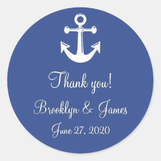 Blue Thank You Nautical Wedding Stickers