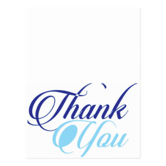 Blue thank you script typography postcard