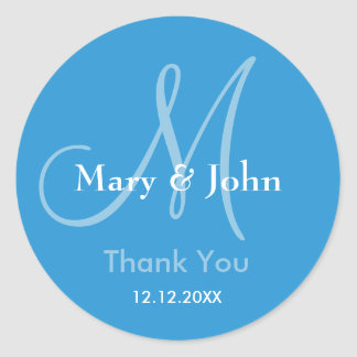 Blue Thank You Wedding Monogram Sticker
