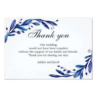 Blue thank you. Winter wedding note. Botanical Card