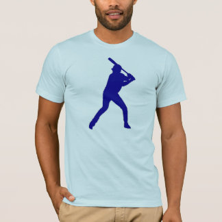 Blue theme baseball player guys simple tee