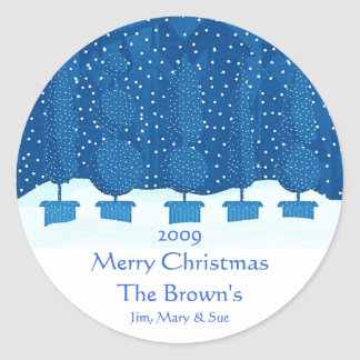Blue Theme Merry Christmas Personalised Wine Label Round Sticker