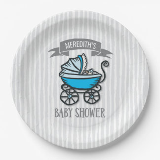 Blue-Themed Baby Shower Paper Plate