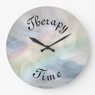 Blue Therapy Time Rainbow Mandala Large Clock