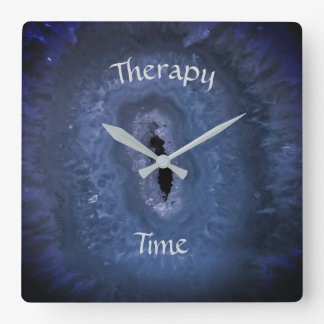 Blue Therapy Time Square Wall Clock