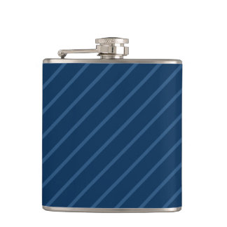 Blue & Thin Light Stripes 6 oz Vinyl Wrapped Flask