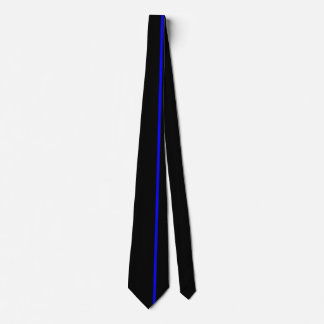 Blue Thin Vertical Line on Black Offset Right Tie