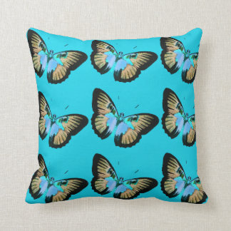 Blue throw Pillow with Vintage Butterflies