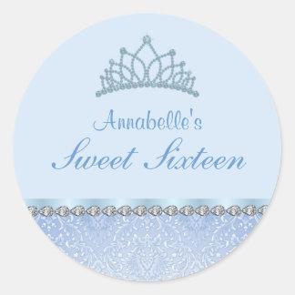 Blue Tiara & Damask Sweet16 Sticker