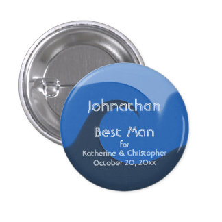 """Blue Tide"" - Best Man w/ Names and Date 3 Cm Round Badge"