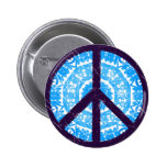 Blue Tie-dye Peace Sign Button