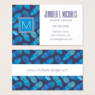 Blue Tie Dye Pineapples | Add Your Name Business Card