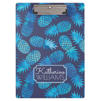 Blue Tie Dye Pineapples | Add Your Name Clipboard