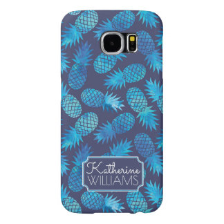 Blue Tie Dye Pineapples | Add Your Name Samsung Galaxy S6 Cases