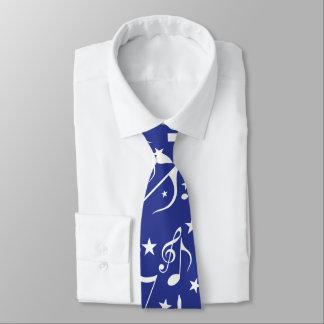 blue tie white notes tie