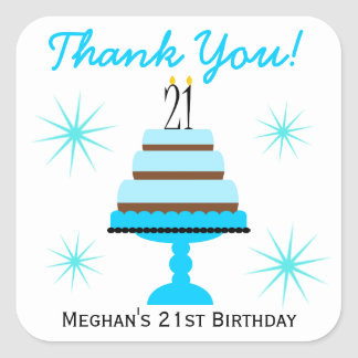Blue Tiered Cake 21st Birthday Favor Stickers