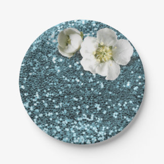 Blue Tiffany Floral White Jasmine Glitter Paper Plate