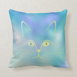 Blue Tiffany Mint Green Glass Cat Throw Pillow