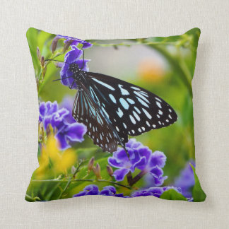 Blue tiger butterfly cushion