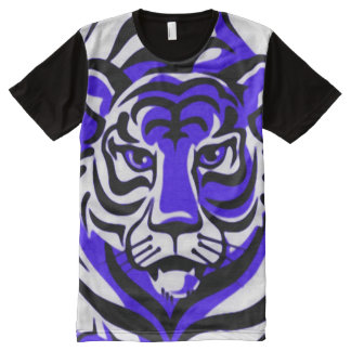 Blue Tiger Cartoon Animal Print Graphic Tee All-Over Print T-Shirt